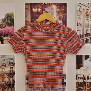 Vintage 90s Main Frame Striped Ribbed Top